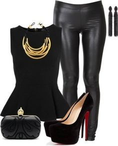 Clubbing . Pleather . Leather . Peplum . Black . Gold . Chain . Heals . Fashion . Clothes . Jewelry .