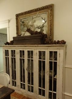 Old windows Into A Glass-Front Cabinet Decor, Furniture, Diy Dining Room, House Design, Dining Room Cabinet, Home, Diy Dining, Cabinet, Foyer Decorating