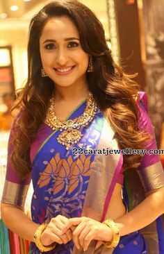 bb9b6bcb0c8f65 Pragya Jaiswal in Peacock Pachi Necklace