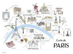 Map of Paris by Alice Tait Novelty Europe France Paris Maps Print Poster Travel Maps, Paris Travel, France Travel, Travel Posters, Transport Posters, Paris 14, I Love Paris, Paris City, Bastille