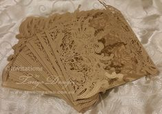 DIY Lasercut Wedding Invitations Gold lace by InvitationsbyTango