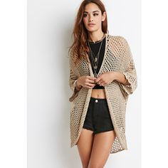 Forever 21 Women's  Open-Knit Dolman Cardigan ($25) ❤ liked on Polyvore featuring tops, cardigans, open front cardigan, dolman sleeve cardigan, open front knit cardigan, dolman cardigan and chevron top