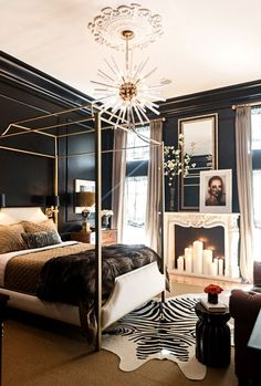Get inspired by Glam Bedroom Design photo by Jessie D. Wayfair lets you find the designer products in the photo and get ideas from thousands of other Glam Bedroom Design photos. Glam Bedroom, Home Bedroom, Bedroom Ideas, Bedroom Black, Bedroom Makeovers, Black Bedrooms, Gothic Bedroom, Black White And Gold Bedroom, Stylish Bedroom