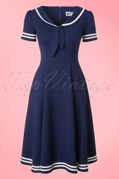 Ambleside Swing Dress in Navy Modest Dresses, Cute Dresses, Casual Dresses, Beautiful Dresses, Dresses For Work, Vintage Outfits, Vintage Dresses, 1950s Fashion, Vintage Fashion