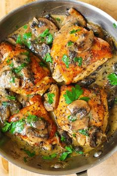 Chicken Thighs with Creamy Mushroom Sauce - a super easy recipe perfect for busy weeknights! It takes only 35 minutes from start to finish!