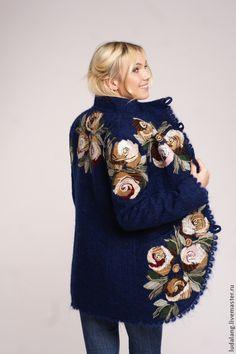 """Купить Полупальто """"Глория"""" - темно-синий, цветочный, весенняя куртка, Весеннее пальто, валяная куртка"""