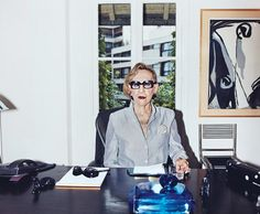 Andree Putman, design doyenne, ever-stylish. She is often seen wearing a signature necklace (look for it).