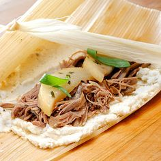 Fusion Tamales - shredded Asian duck with lightly sauteed Comice pears in tarragon