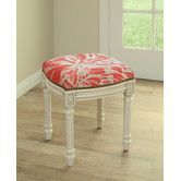 Found it at Wayfair - Floral Coral Botanical Linen Upholstered Vanity Stool