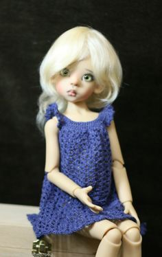 "NAVY Dress Kaye Wiggs fits Layla Miki Talyssa 18"" MSD SD Tobi BJD ~Sisters Grimm"