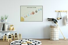 Solar system poster. wall sticker fabric decal