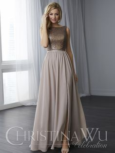This sequin bodice features a boat neckline and a scoop back. The skirt begins at the natural waist and features a slit. Pictured in Bronze/Taupe/Taupe. Contact an authorized retailer for fabric and color options.