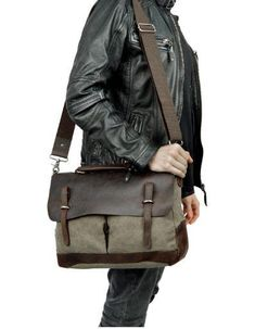 Vintage Style Canvas Leather ringed Over-flap Briefcase Messenger Bag with Brass  Accents 376c9aa8a4
