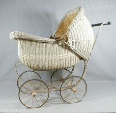 Antique White Wicker Baby Carriage