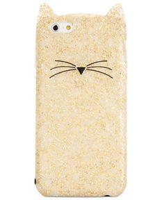 kate spade new york Glitter Cat iPhone 6 Case - Handbags & Accessories - Macy's Cool Iphone Cases, Iphone 6 Plus Case, Iphone 7, Cute Charms, Macbook Case, Tech Accessories, Just In Case, Kate Spade, York