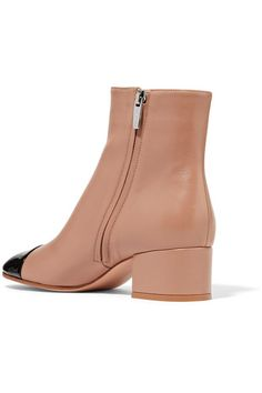 Gianvito Rossi - Patent And Matte-leather Ankle Boots - Sand - IT36.5
