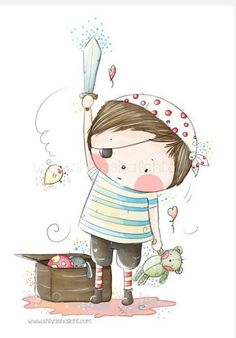 Children Illustration - Nursery - Little Cute Pirate Boy And His Teddy Bear Sword - - I love this whimsical artwork! Art And Illustration, Illustration Mignonne, Illustrations Posters, Watercolor Illustration, Pirate Illustration, Pirate Boy, Art Fantaisiste, Art Mignon, Whimsical Art