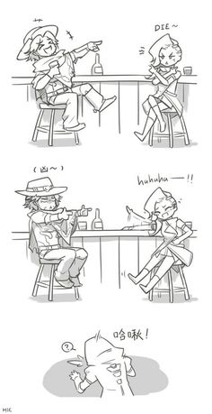 Team Talon hits the bar....and be edgy when drunk  Overwatch meme, overwatch funny, overwatch comic, mccree,reaper,sombra