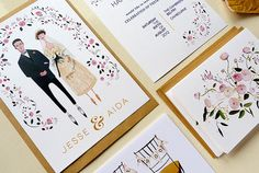 English Rose, Custom Wedding Invitation on Etsy. When I get married I want to illustrate invitations like these