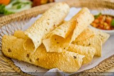 Sundari says: tastes amazing with Kristen's peanut curry soup! Indian flavoured papadum (papad)