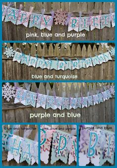 Frozen Banner Set - Happy Birthday AND Name - Choose your color: Pink, Blue or Purple #4heartspapercraftco #frozen #frozenbirthday