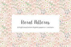 Whimsical Floral Patterns by Elan Creative Co. on @creativemarket
