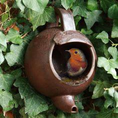Robin Teapot Nester Ceramic Pottery Wild Bird Nest Box Gift Boxed | eBay