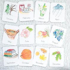 Months of the Year Flashcards - Green Urban Mama Creative Cursive, Autumn Activities, Fun Activities, Montessori, Latin Language, French Language, April Rain, Snowy Trees, Print Fonts