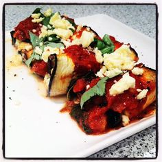 Baked Eggplant Rolls with a Tomato Basil Sauce