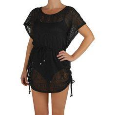 56656a89d7 Catalina Women s Plus-Size Crochet Flutter-Sleeve Swim Cover-Up Swim Cover