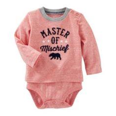 """Baby Boy OshKosh B'gosh """"Master of Mischief"""" Mock-Layer Bodysuit"""
