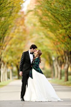 Kieran and Tom were married in the fall at Overbrook Country Club in Villanova, Pennsylvania. Instead of wearing the usual fur jacket or lace bolero, Kieran threw on a green and navy tartan stole over her ball gown to shield from the November chill.
