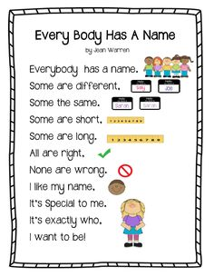 """Every Body Has a Name Poem"" from play learn love: Will go well with how many letters in your name activity"