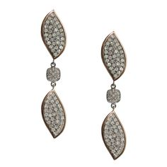 Kendra White Diamond Drop Earrings in 14k Rose Gold and accented in Sterling Silver - Meredith Marks Designs  http://www.meredithmarks.com/LSECommerce/kendra-earrings/dp/1575
