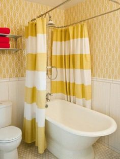 A small bathtub is absolutely the right bathtub to use in a small bathroom since something small is definitely what suits a small room. A small bathtub can be used in the same area with a shower in the bathroom so the user can soak themselves in the Curtains Yellow Walls, Yellow Shower Curtains, Bathroom Shower Curtains, Shower Tub, Striped Curtains, Shower Enclosure, Bathroom Beadboard, Modern Shower Curtains, Diy Shower