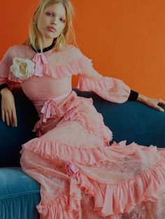 Looking pretty in pink, Daphne Groeneveld poses in Gucci gown with ruffles for ELLE Magazine UK December 2016 issue