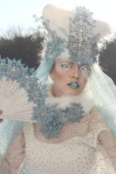 Jadis the Snow Queen by Tara Ozella model is Nefertara (hat, eyelashes, collar, and fan by The Church of Vanity