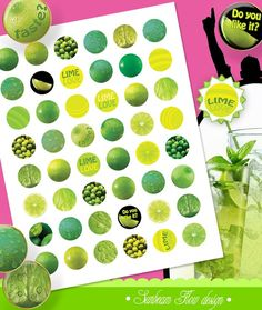INSTANT DOWNLOAD - 1 Circles Lime Lemon 01 yellow green lime color round bottle cap printable Digital Collage Sheet Print Your Own pyo DIY  ♥ This sheet can be printed as many times as needed. They can be used for:  - Scrapbooking - Bottle Cap Accessories: Pendants, Bookmarks, Hair Bows, .. - Scrabble Tile Jewelry & Accessories - Party Favors & Gift Tags - Glass Tiles - Decoupage - Stickers - Nametags - Labels, Hangtags - Card Making - and more...  ♥ Formats: JPG  ♥ Quality: 300 dpi  ...