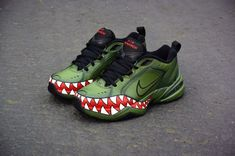 """The """"Green Goblin"""" Nike Monarch 📷: Customs made by sponsored artist _ Vans Sneakers, Air Max Sneakers, Nike Shoes, Dad Shoes, Me Too Shoes, Nike Air Monarch, Kinds Of Shoes, Custom Shoes, Shoe Game"""