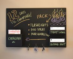 Good DIY for the #office: Mail Organizer chalkboard medium wall mounted pockets and hooks. $195.00, via Etsy.