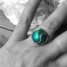 Solid silver ring with green enamel by Jinkles on Etsy https://www.etsy.com/uk/listing/574618117/solid-silver-ring-with-green-enamel