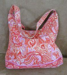 Sherbert Vera Bradley Hobo purse bag retired 2004 orange pink shoulder womens #VeraBradley #Hobo