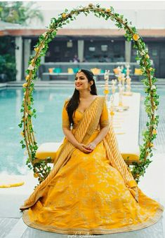 A beaming bride shining in this pretty Sabyasachi lehenga perfect for her wedding ceremony! // yellow modern and simple wedding lehenga for brides with embroidery Desi Wedding Decor, Wedding Flower Decorations, Wedding Centerpieces, Wedding Bouquets, Church Decorations, Sunflower Centerpieces, Wedding Arrangements, Centerpiece Ideas, Table Centerpieces