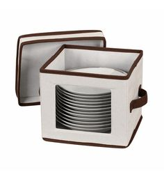 Household Essentials Dinner Plate Storage Box with Lid and Handles, Natural Canvas with Brown Trim China Storage, Plate Storage, Kitchen Storage, Storage Boxes With Lids, Lid Storage, Storage Chest, Storage Ideas, Flatware Storage, Garage Storage