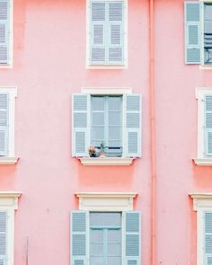 A pastel pink building in France with flowers in the window by Erika Carlock. A beautiful, minimal art print to brighten your walls. Wall Collage Decor, Bedroom Wall Collage, Photo Wall Collage, Picture Wall, Bedroom Decor, College Walls, Dorm Walls, Pastel Walls, Pink Walls