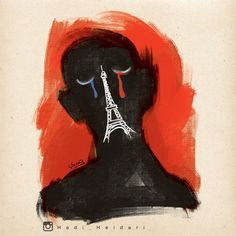 Iranian Cartoonist Hadi Heidari Creates a Beautifully Heartfelt Illustration Dedicated to the People of Paris