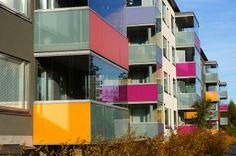 Balconies in a modern house in Suurpelto,  Espoo, Finland