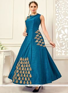 Ruritanian Embroidered Work Teal Banglori Silk Floor Length Anarkali Suit Model: YOS9266
