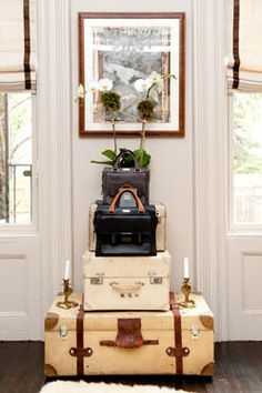 Vintage suitcases make amazing home accessories