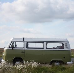 Green VW CAmper van bus in the daisies jolly campervans ~ the baron
